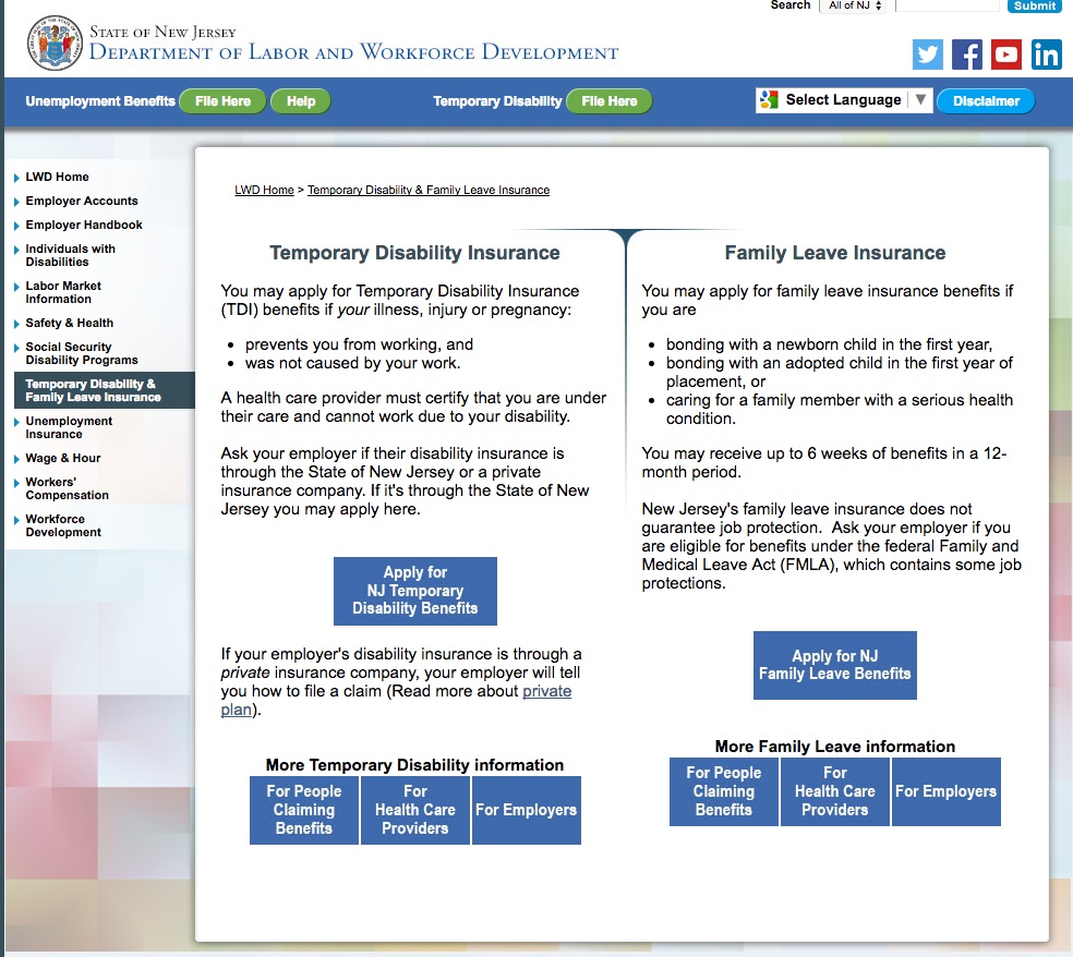 NJ department of labor and Workforce development page/link